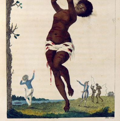"William Blake, ""Flagellation of a Female Samboe Slave,"" 1795 in John Gabriel Stedman's The Narrative of a Five Years Expedition against the Revolted Negroes of Surinam."